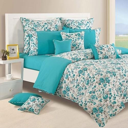 Attractive Floral Printed Aqua Floral Bed Sheets