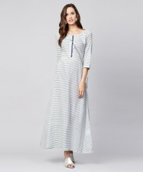 Blue Striped 3/4th Sleeve Cotton A-Line Maxi Dress