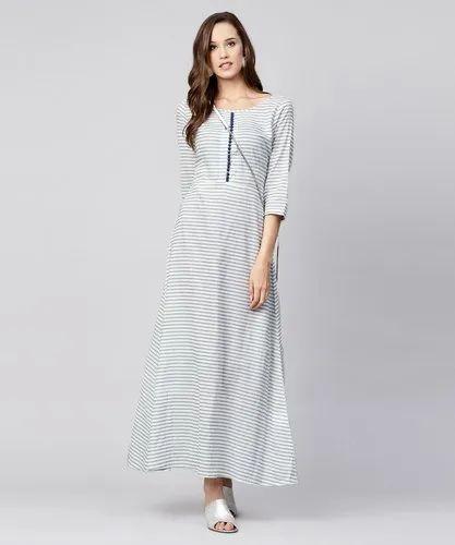 7e7c8ca07ef3 Casual Wear Blue Striped 3 4th Sleeve Cotton A-Line Maxi Dress