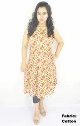 Casual Wear Cotton Ladies Women's Round Neck Printed One Piece Dress