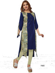 Crepe Blue Color 3/4th Sleeve & Round Neck Kurti