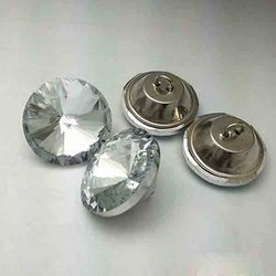 Round Glass Sofa Crystal Button