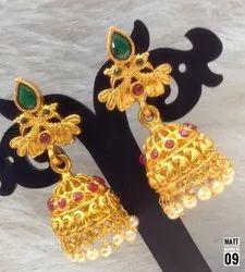 South Indian Style Copper Matte Jhumki - MJ01