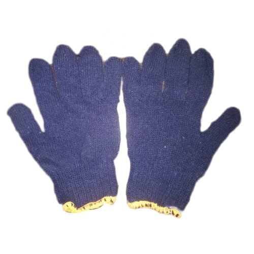 Blue knitted Full Fingered Safety Gloves, Size: Medium