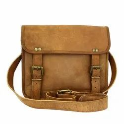 Double Belt With Pocket Vintage Handmade Genuine Leather Handbag