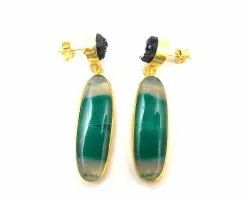 Fashion Homemade Green Agate and Black Druzy Gemstone Stud Earring With Gold Plated