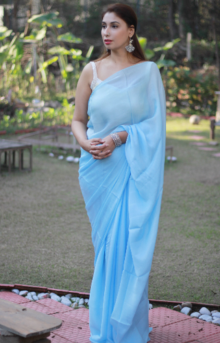 Light Blue Formal Wear Shade Saree, Blouse Size: 36