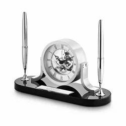 Pen Stand Deluxe Superior Chrome Desktop Clock