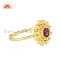 Pink Topaz Gemstone Adjustable Gold Plated 925 Silver Supplier Rings