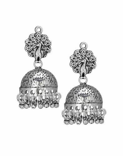 Pea Oxidised Handmade Earring Jhumka