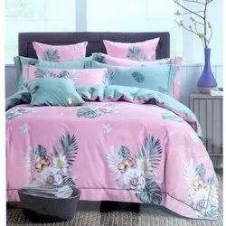Pink Printed Double Bed Sheet