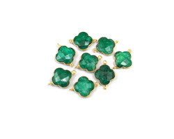 Emerald Gemstone Bezel Connectors