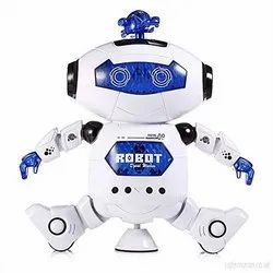 White, Blue Plastic Dancing Robot with 3D Lights and Music, Multi Color, 4-6 Yrs