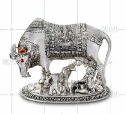 White Metal Cow And Calf With Bal Krishna