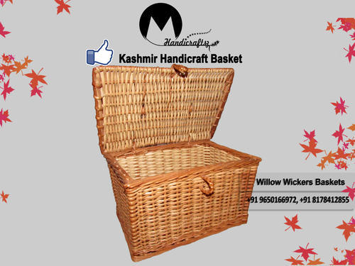 Om Handicraftsz Natural Brown & White Kashmir  Picnic Basket