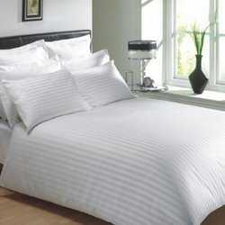 White Satin Strip Bed Sheets