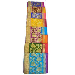 Casual Wear RAW SILK SAREE WITH EMBROIDERY, 6.3 M, With Blouse Piece