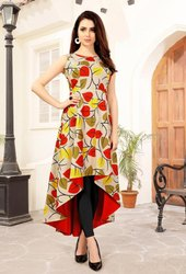 Red & Yellow Ladies Festive Wear Printed Rayon Kurti
