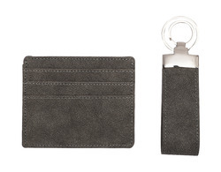 Leatherette Cardholder And Keychain Gift Set