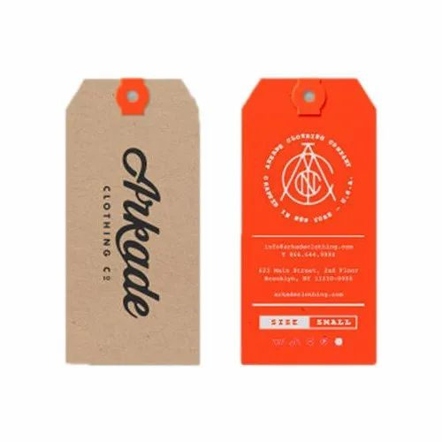 Brown, Orange Printed Cloth Hang Tag