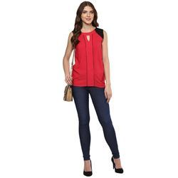Womens Solid Synthetic Top