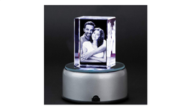 3D Cube Crystal Photo Frame with Rotate Light Base