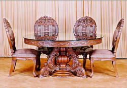 Wood Carving Dining with Six Chair
