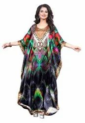 Long Multi Color Women Digital Printed Kaftan