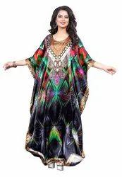 Long Multi Color Women Digital Printed Kaftan