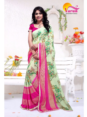 69f546547f Floral Print Varun International Golden Ivory Catalogue Sarees, Rs ...