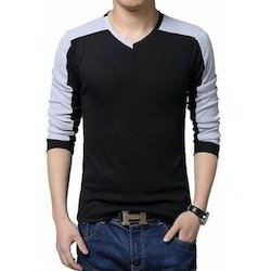 Cotton V-neck Boys Full Sleeve T Shirts, Size: XL