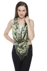 Digital Printed Multi Colour Hip Scarves With Beaded Fringes