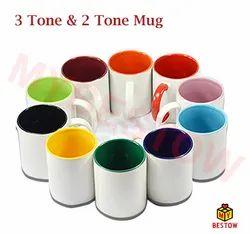 Ceramic 3 Tone Sublimation Coffee Mug, Size: 11 Oz
