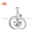 Cz Designer White Rhodium Plated 925 Silver Gray Pendant Jewelry