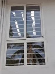 White Rectangular UPVC Combination Window for Home, Thickness Of Glass: 5 to 7 mm