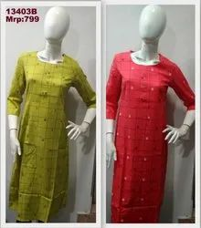 13403 Cotton Geometric Printed Kurti