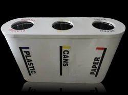 Triple FRP Litter Airport Stainless Steel Bin Inside