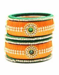 Green and Orange handmade Silk Thread Bangle