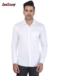 Full Sleeves LeeRooy Men's Solid Casual white Plain Shirt