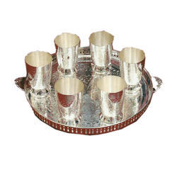 Silver Glass And Tray Gift Set