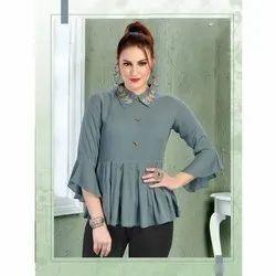 Collar Neck 3/4th Sleeve Ladies Silky Rayon Top, Size: S-XXL