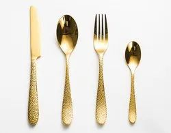 Brass Hammered Cutlery Set