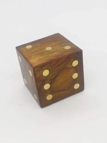 Amaze Shoppee Brown Wooden Paper Weight Dices (2x2x2-inch)
