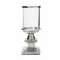 Glass and Aluminium Metal Hurricane Candle Lamp Nickel Finish