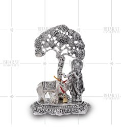 White Metal Cow Krishna Tree