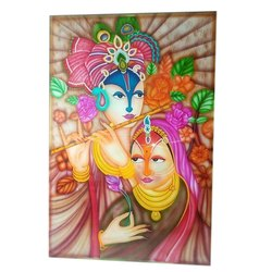Multicolor Radha Krishna Print Glass Sheets, Packaging: Box