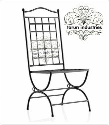 Wrought Iron High Back Chair