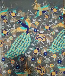 Peacock Georgette Embroidered Fabric