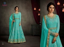 Semi-Stitched Georgette Embroidered Suit