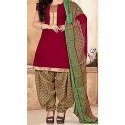 Party wear Chanderi Cotton Ladies Punjabi PSuit